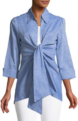 Neiman Marcus Tie-Front Linen Blouse
