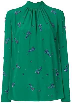 Prada crystal embellished mock neck blouse