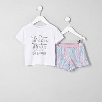 River Island Mini girls White 'unicorn' frill pyjama set