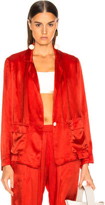Raquel Allegra Satin Cargo Blazer in Red | FWRD