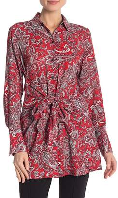 Foxcroft Serena Paisley Tie Waist Shirt