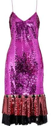 Sachin + Babi Maslak Color-Block Sequined Tulle Slip Dress