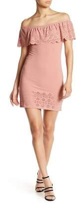 Planet Gold Laser Cut Trim Off-the-Shoulder Dress