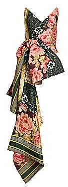 Oscar de la Renta Women's Floral Asymmetrical-Hem Bustier Top
