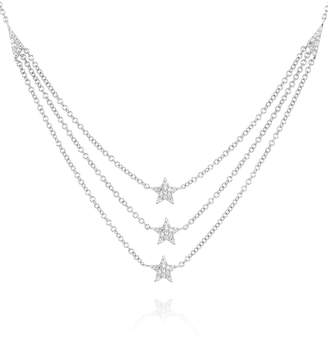 Ef Collection 14K White Gold Diamond Star Triple Layer Necklace - 0.12 ctw