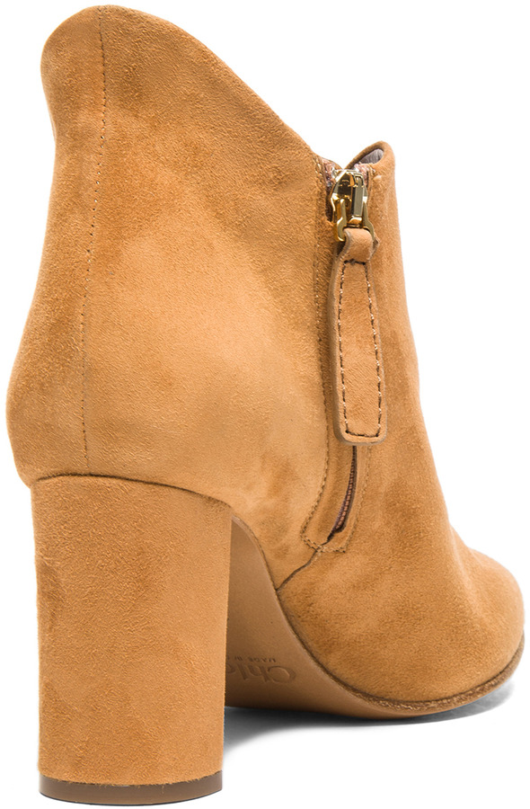 Chloé Suede Booties in Pringle Yellow