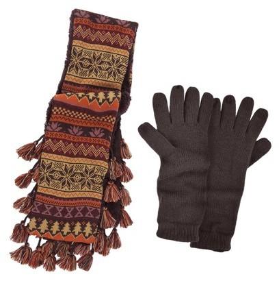 Muk Luks Scarf and Glove Set - Brown 2 Pc