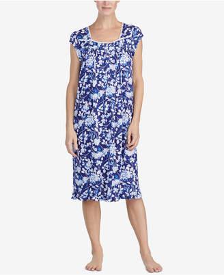 Eileen West Waltz Crochet-Lace Ruffled-Hem Knit Nightgown