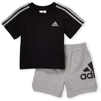 98abfa60 adidas Infant Boys) Two-Piece Short Sleeve Logo Tee & Shorts