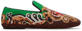 Loewe Brown and Green Embroidered Slip-On Loafers
