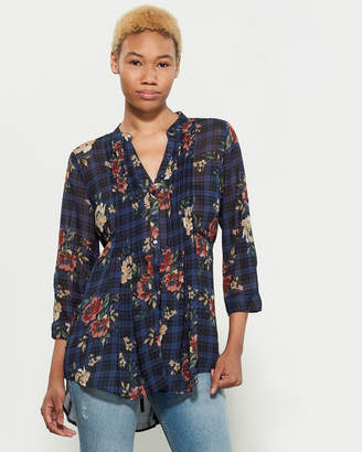 American Rag Floral Plaid Pintuck Tunic Shirt