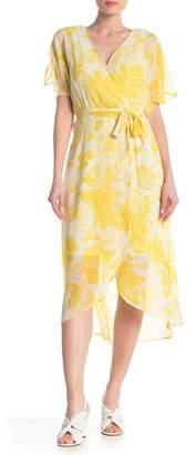 Luxology Floral Print Wrap Midi Dress