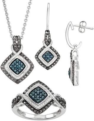 1/10 Carat T.W. White, Black & Blue Diamond Pendant Earring & Ring Set