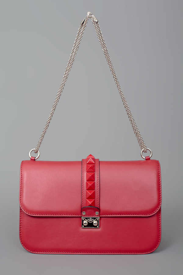 VALENTINO Lacquered Studded Flap Bag w/ Chain
