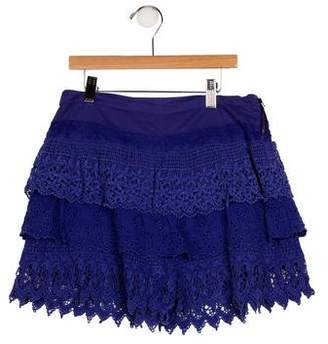 Catimini Girls' Embroidered Tiered Shorts