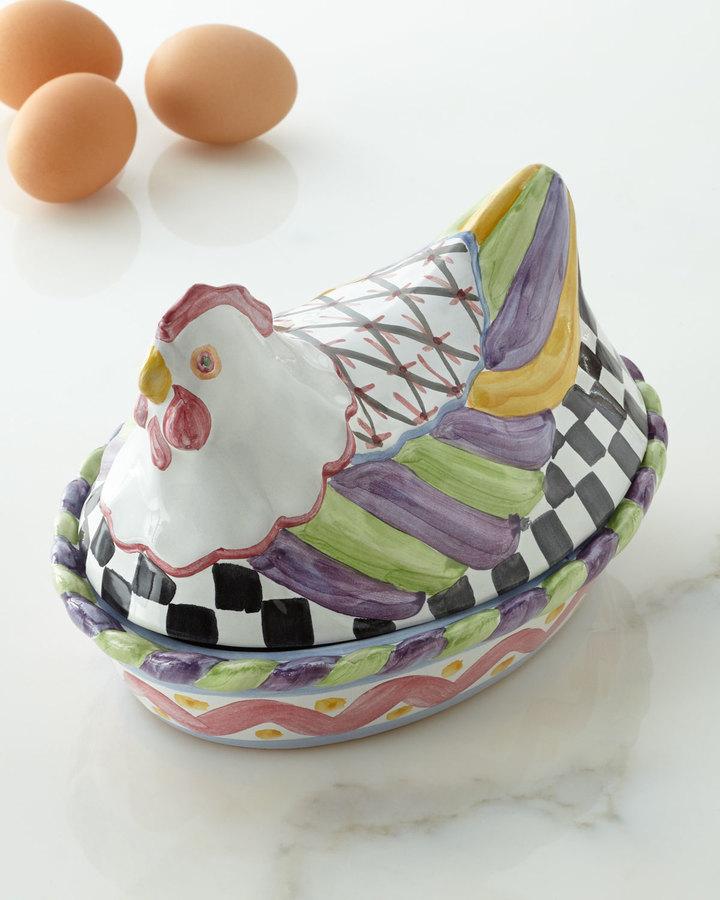 """Mackenzie Childs MacKenzie-Childs """"Nesting Chicken"""" Dish"""