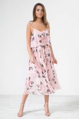 Urban Touch Pinkfloral Pleated Mididress