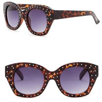 Steve Madden 50mm Square Studded Sunglasses