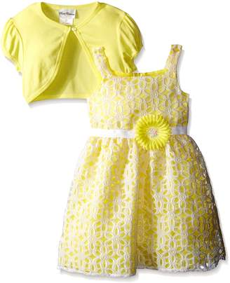 Rare Editions Big Girls' Burnout Lace Dress with Cardigan