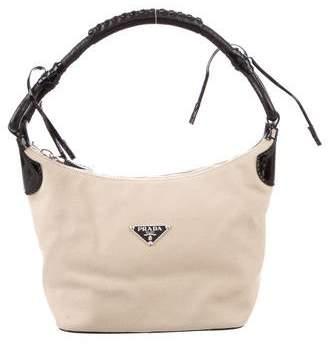 Prada Patent Leather-Trim Woven Bag