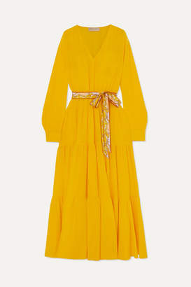 Emilio Pucci Belted Tiered Silk-satin Dress - Yellow