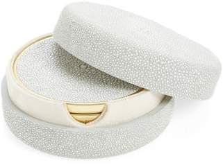 AERIN Shagreen Set of 4 Coasters with Lidded Holder