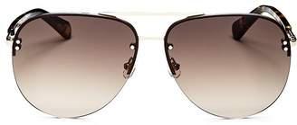 Kate Spade Women's Jakayla Brow Bar Rimless Aviator Sunglasses, 62mm