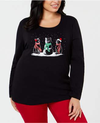 Karen Scott Plus Size Cotton Cat Trio T-Shirt