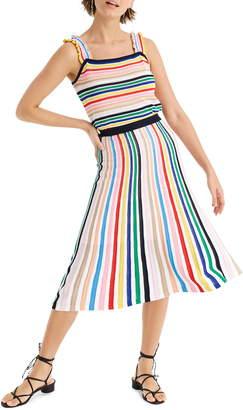 J.Crew Rainbow Stripe Pull-On Flare Skirt