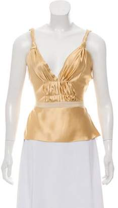 Prada Silk Sleeveless Top Gold Silk Sleeveless Top