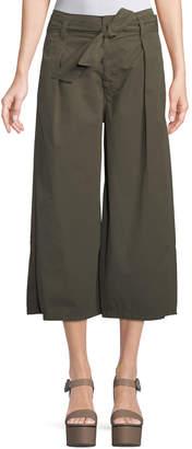 Velvet Arisa Wide-Leg Crop Cotton-Twill Pants