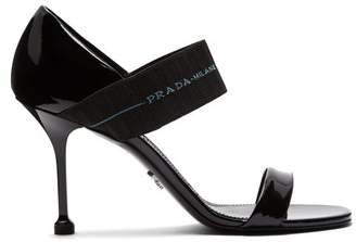 Prada Logo Strap Patent Leather Sandals - Womens - Black