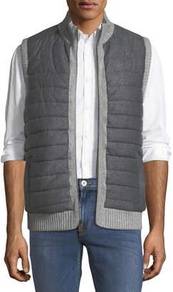 Neiman Marcus Knit-Trim Quilted Vest