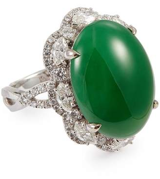 LC Collection Jade Diamond jade 18k white gold scalloped ring