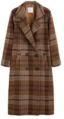 MANGO Checked recycled wool coat