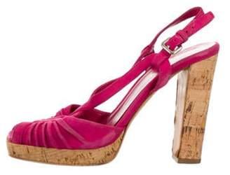 Prada Suede Slingback Sandals Pink Suede Slingback Sandals