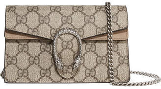 Gucci Dionysus Super Mini Printed Coated-canvas And Suede Shoulder Bag - Brown