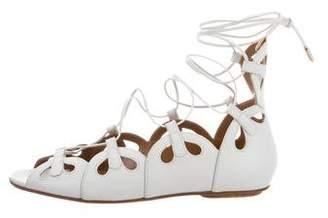 Aquazzura Leather Cutout Sandals
