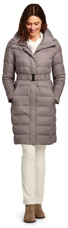 Brown Petite Ultra Light Down Coat With Belt