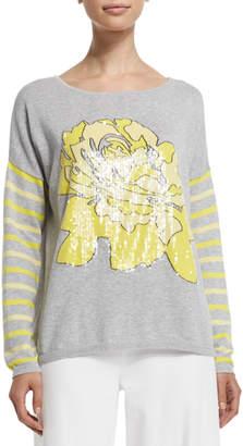 Joan Vass Rose/Striped Sweater, Petite