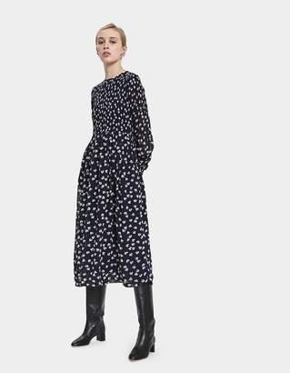 Ganni Rometty Georgette Smocked Dress
