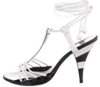 Chanel Patent Wrap-Around Sandals