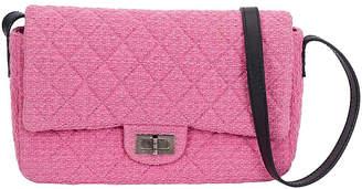 One Kings Lane Vintage Chanel Pink Tweed Crossbody Flap Bag - Vintage Lux