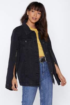Nasty Gal Zip It Oversized Denim Jacket