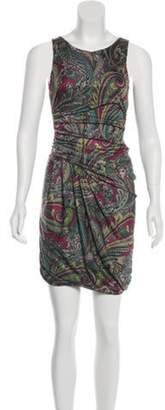 Etro Printed Sleeveless Midi Dress Magenta Printed Sleeveless Midi Dress