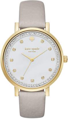 Kate Spade Women's Monterey Clocktower Gray Leather Strap Watch 38mm KSW1131