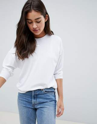Asos DESIGN long sleeve t-shirt with batwing in white