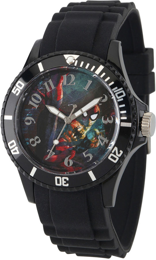 MARVEL Marvel Womens Black Strap Spider-Man Sport Watch