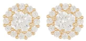 Candela 14K Yellow Gold Halo CZ Earrings