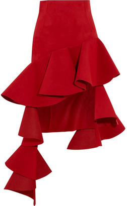 Jacquemus - Ruffled Asymmetric Brushed-twill Mini Skirt - Red $795 thestylecure.com